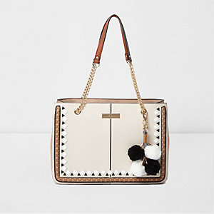 Beige geo trim pom pom chain tote bag