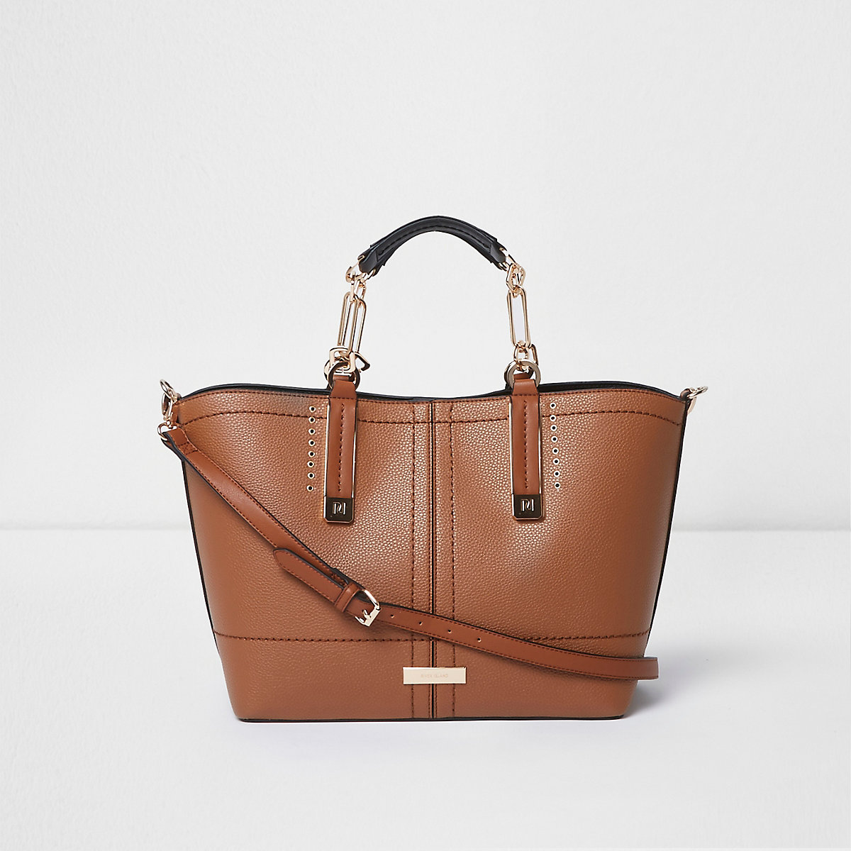 Brown eyelet trim large tote bag