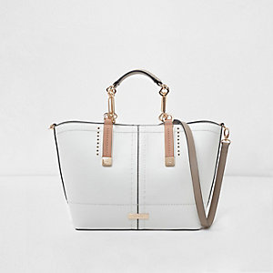White winged contrast trim tote bag