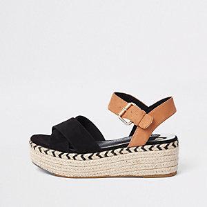 Sandales noires compensées style espadrille contrastées