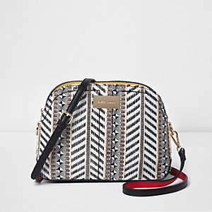 Black mixed weave cross body bag