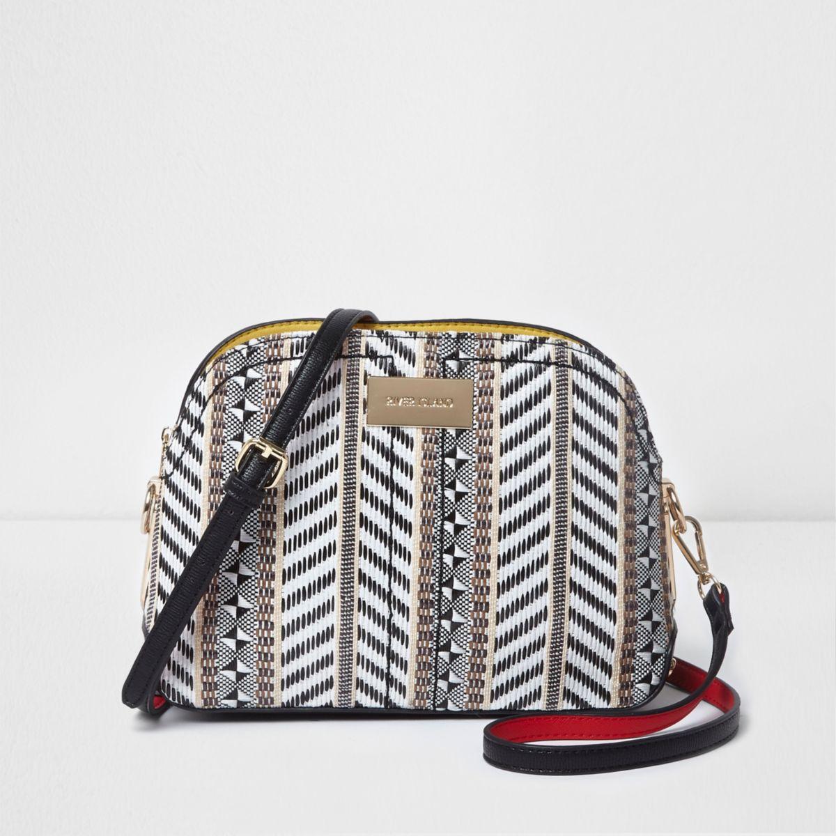 Black mixed weave cross body bag