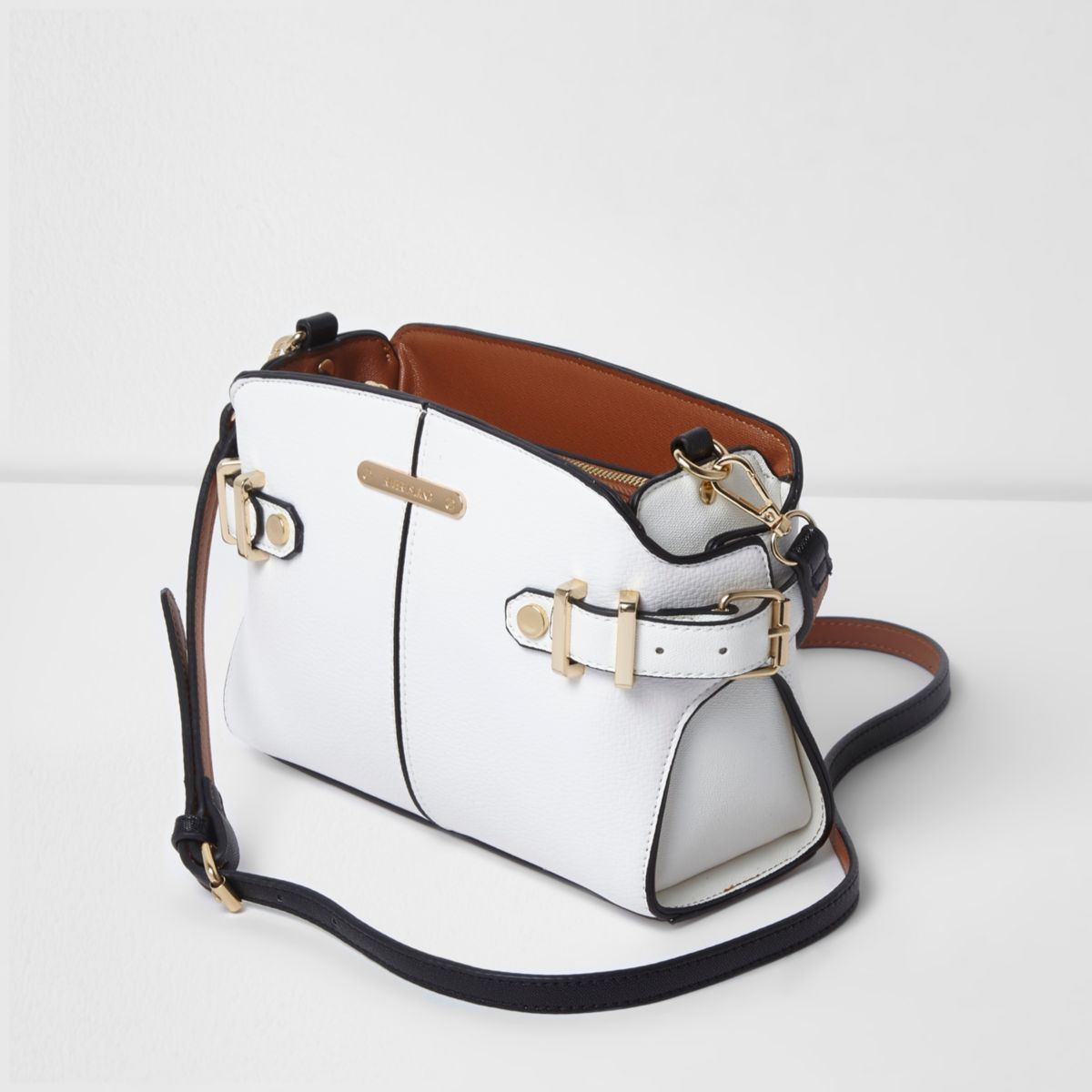White tab side cross body bag