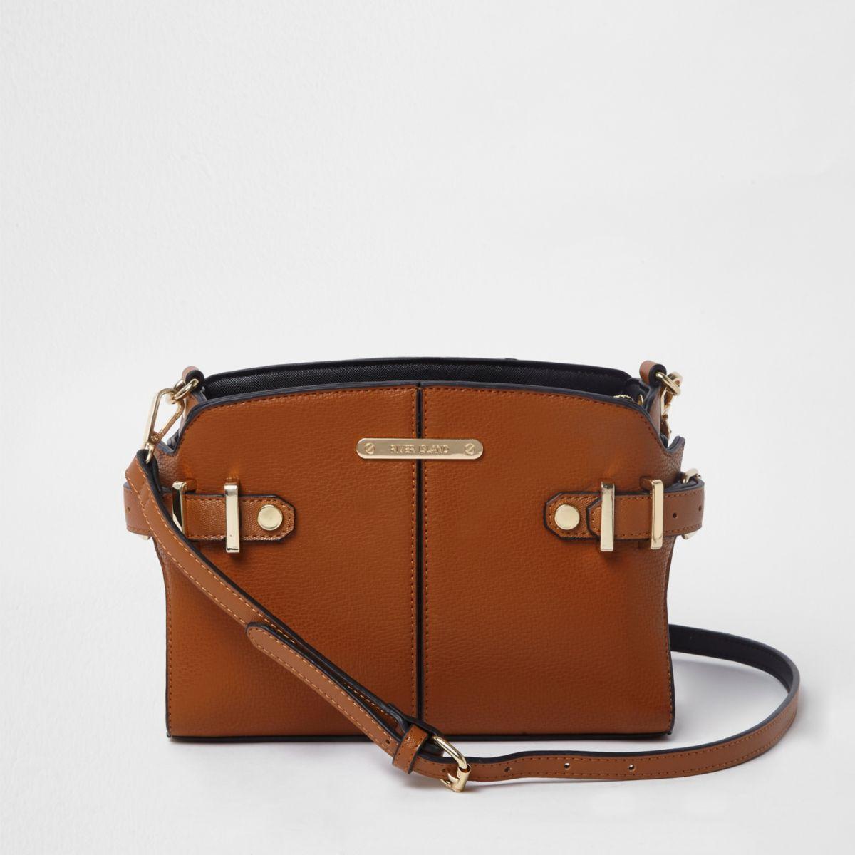 Tan brown buckle side cross body bag