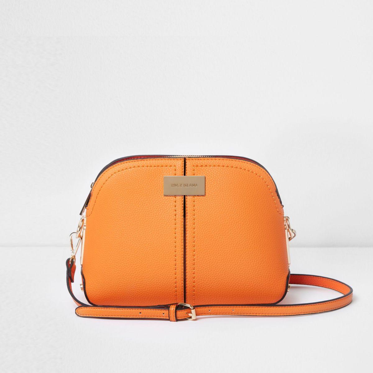 Orange kettle cross body bag