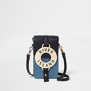 Blue denim hoop front mini cross body bag