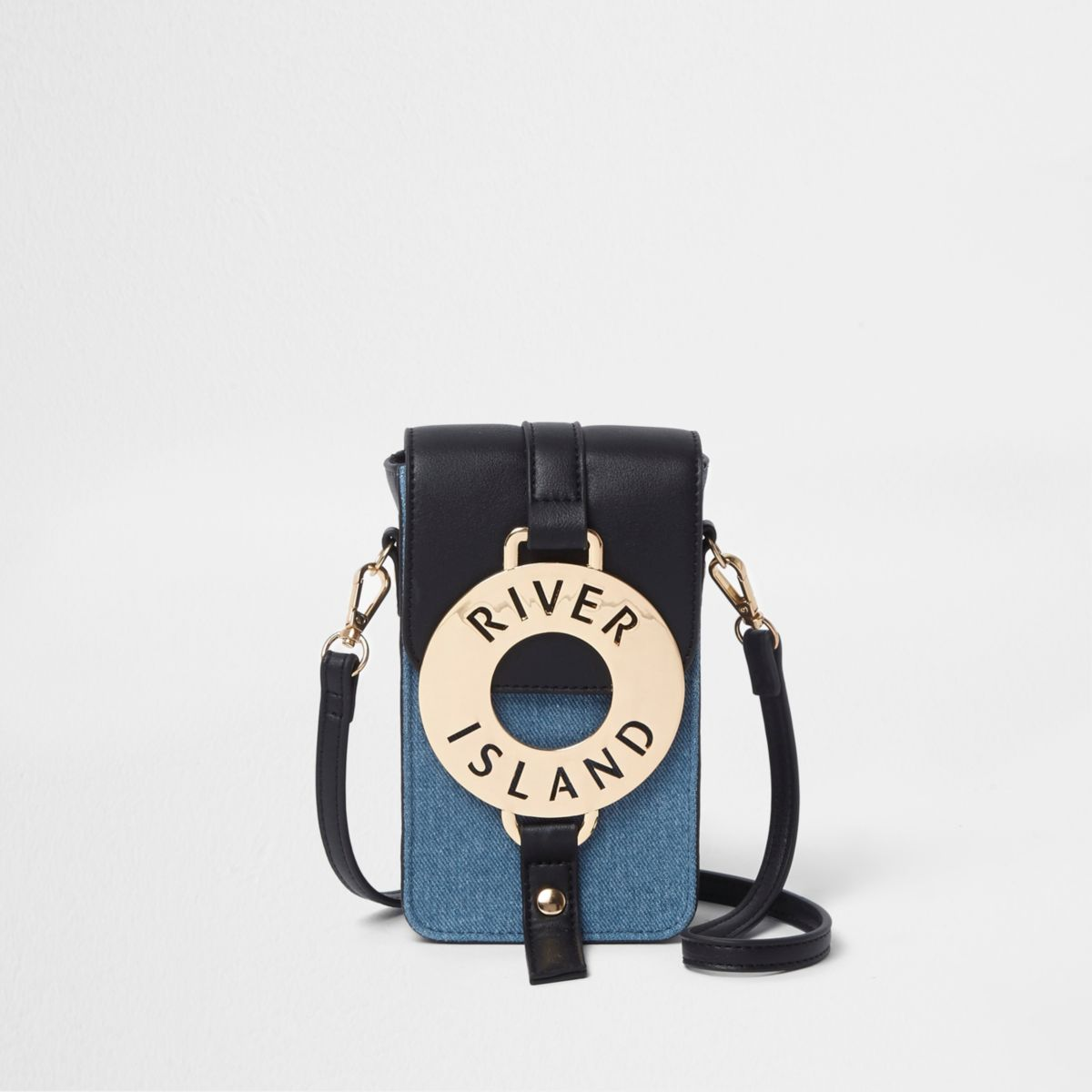 Blue denim hoop front mini cross body bag