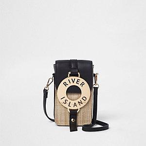Mini sac bandoulière noir tissé avec anneau devant