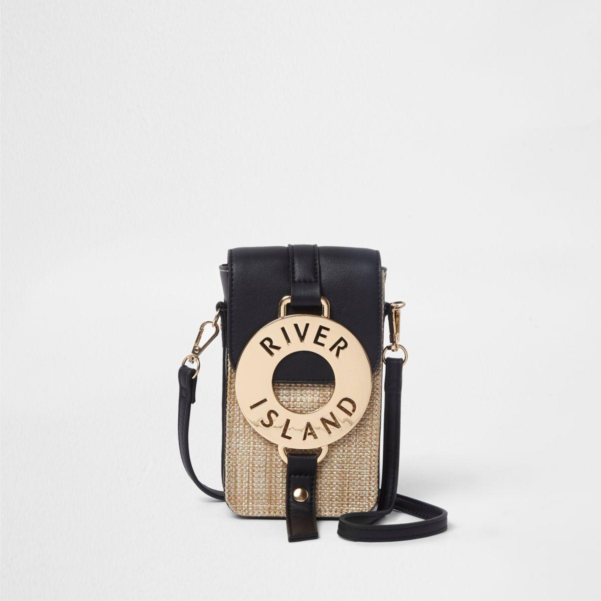 Black woven hoop front mini cross body bag