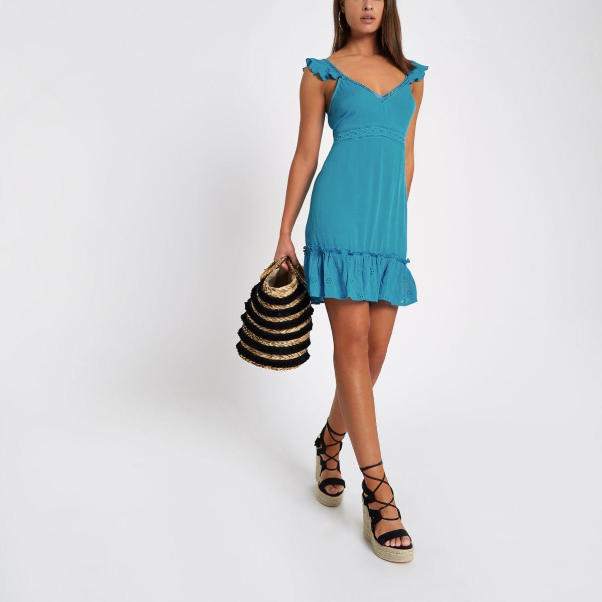 Blue bow back midi dress