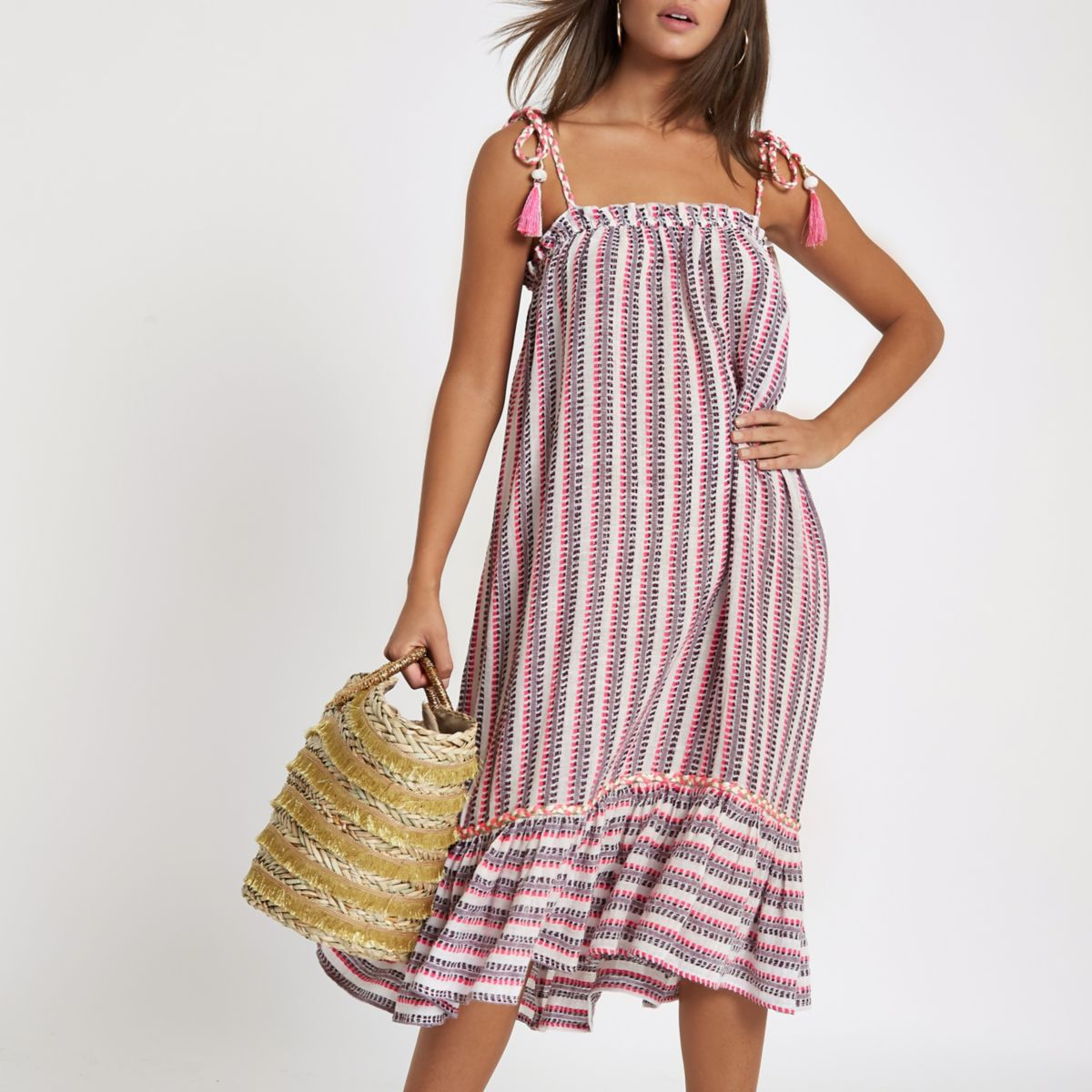 Pink stripe plaited stripe beach midi dress