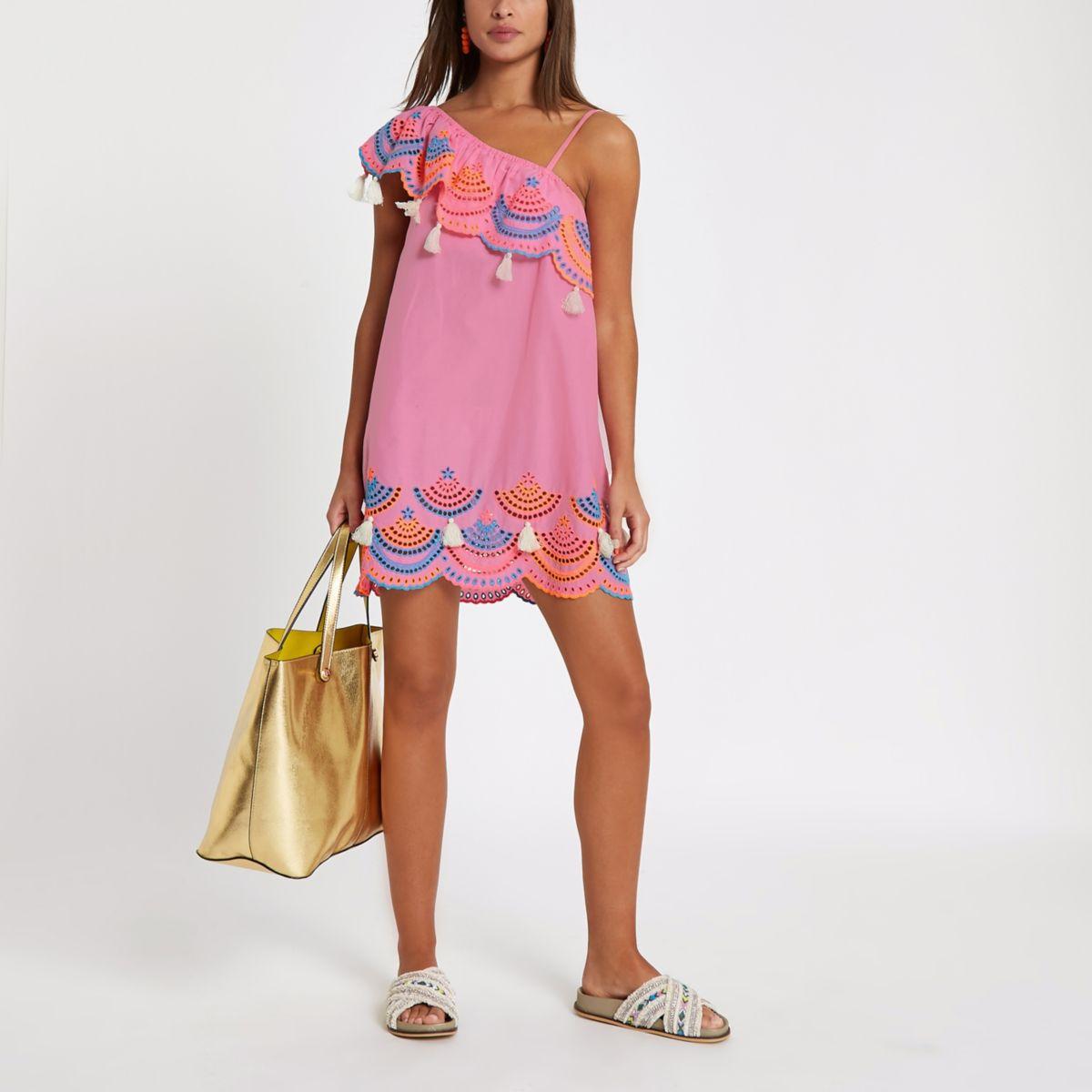 Pink one shoulder broderie beach dress