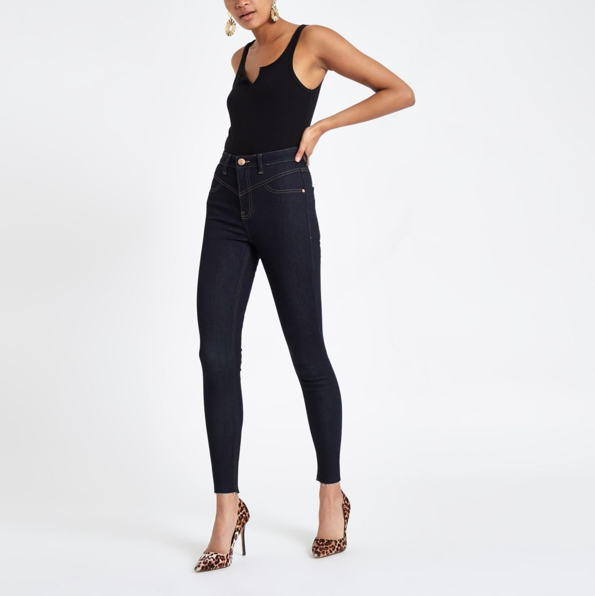 Dark blue raw hem high waisted jeggings