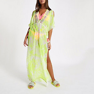 Yellow embellished maxi beach cover up