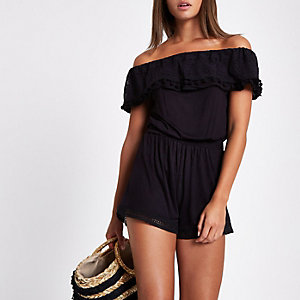 Black lace trim bardot romper