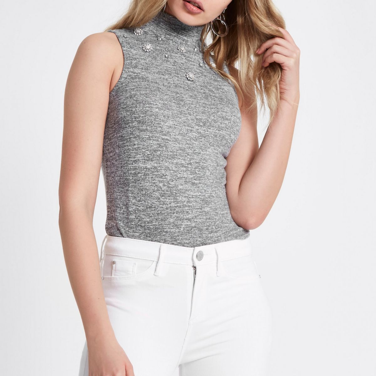 Grey embellished high neck sleeveless top
