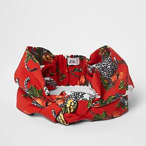 Rode hoofdband met cheetah-print en knoop voor