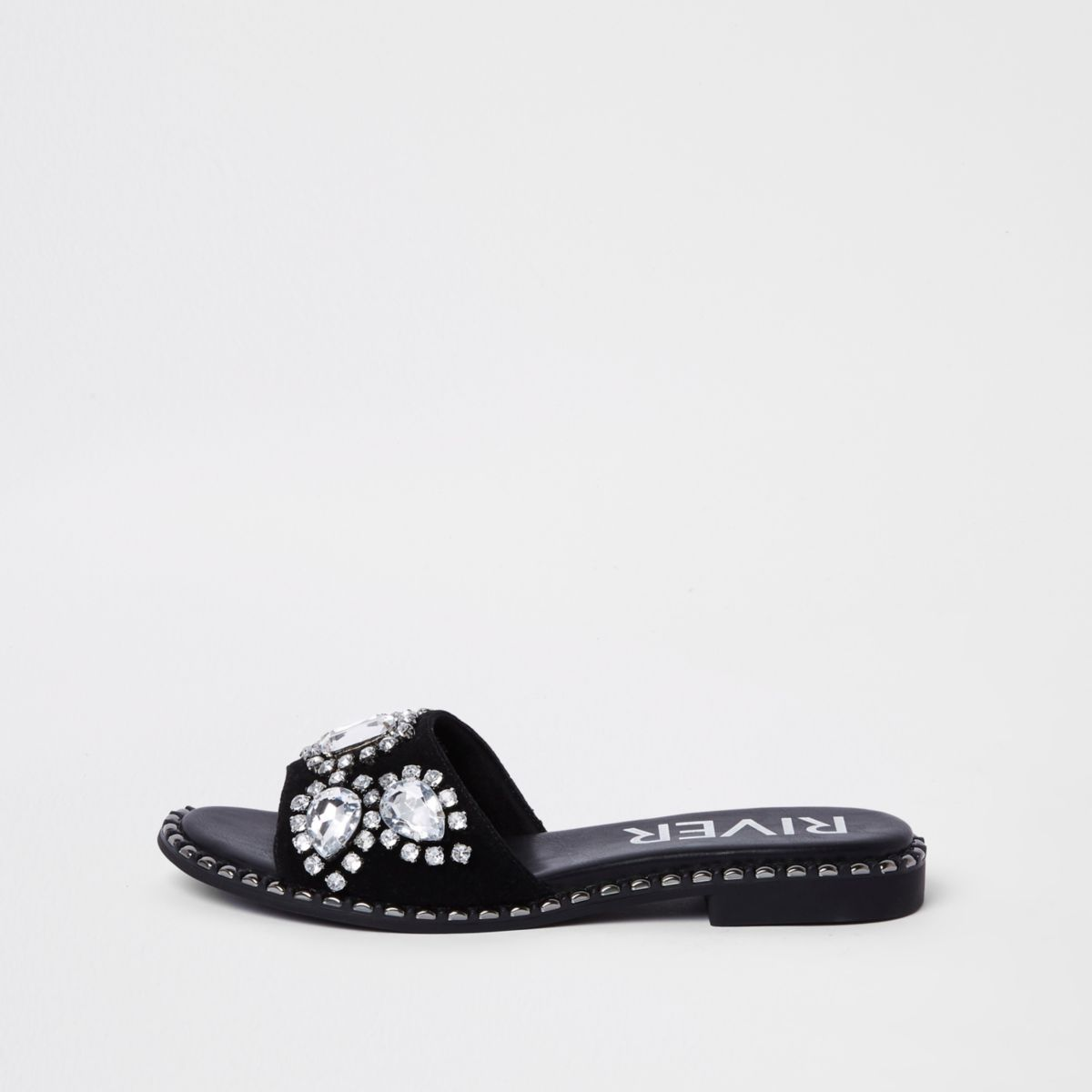 Black Gem Embellished Mule by River Island