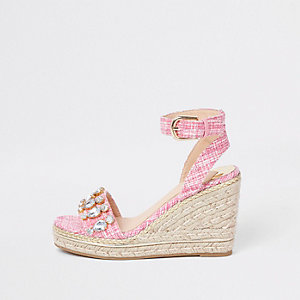 Pink tweed embellished espadrille wedges