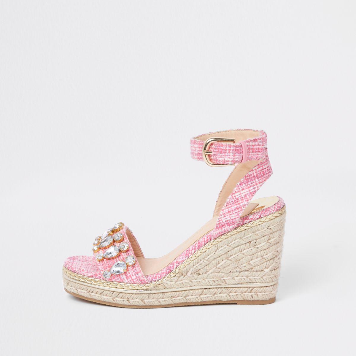 Pink tweed embellished espadrille wedges