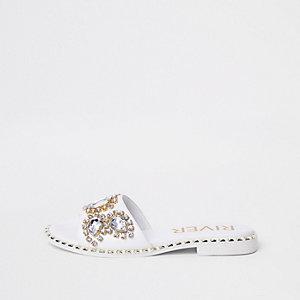 White gem embellished mule