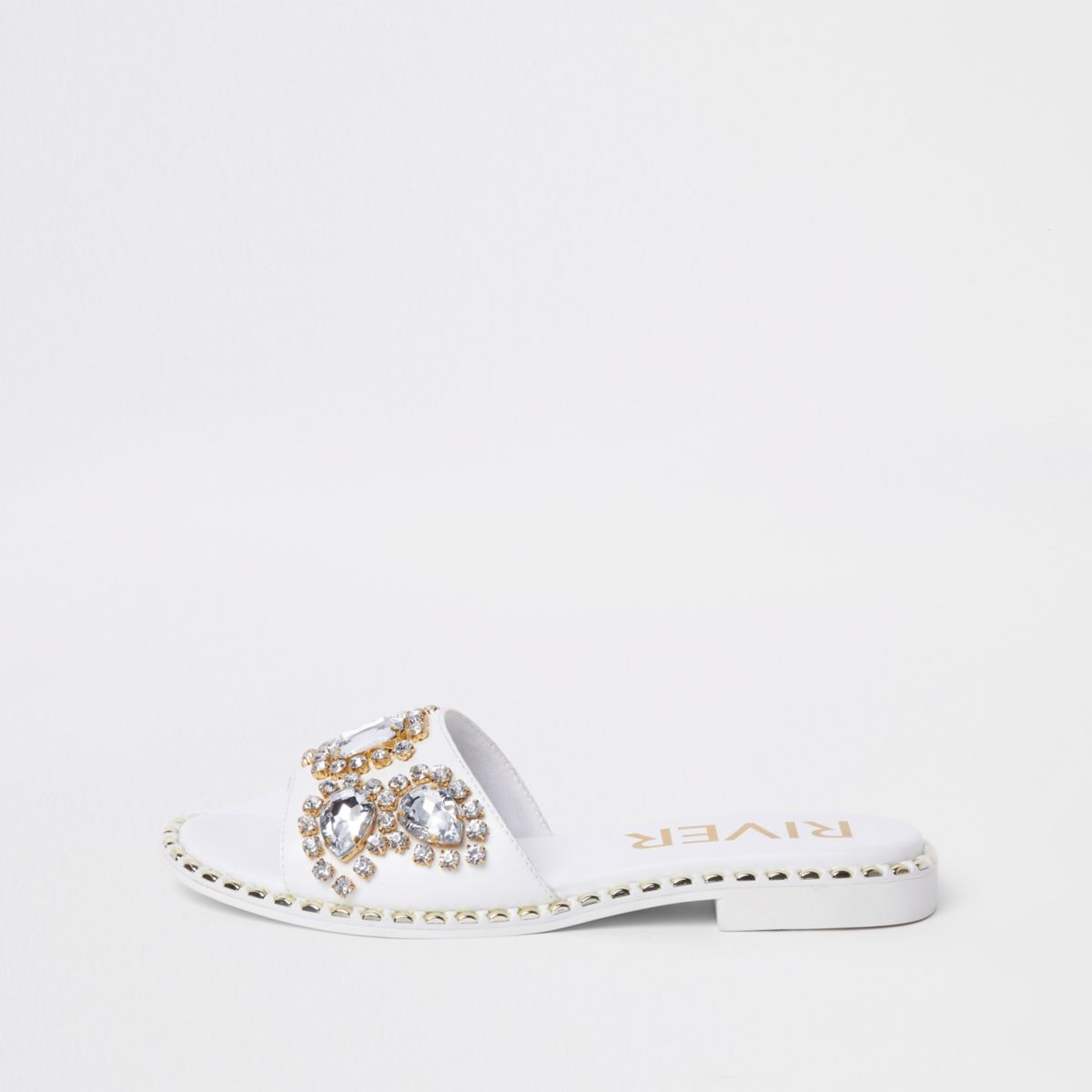 Shop Offer Sale Online Discount Lowest Price Womens White gem embellished mule River Island Buy Cheap Affordable O7Cxnte