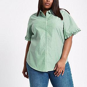 RI Plus - Groen gestreept overhemd met bloemenprint en ruches aan de mouwen