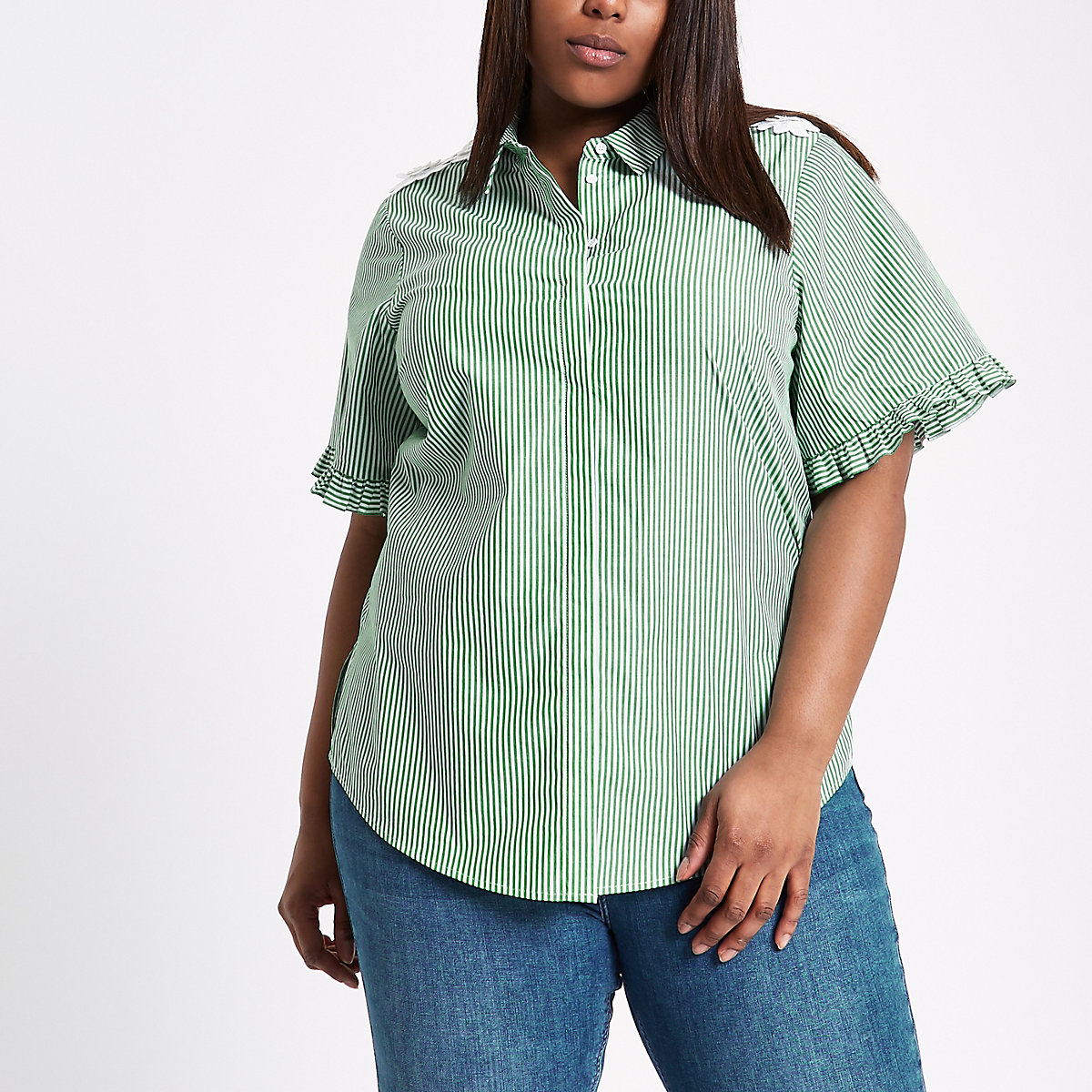 Plus green stripe flower frill sleeve shirt