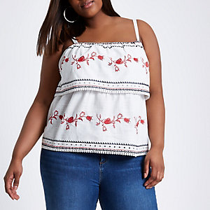 Plus cream tiered embroidered cami top