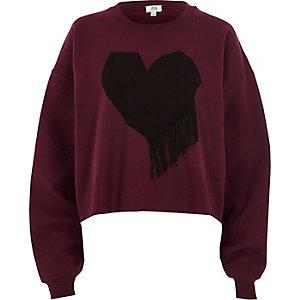 Red heart print fringe sweatshirt