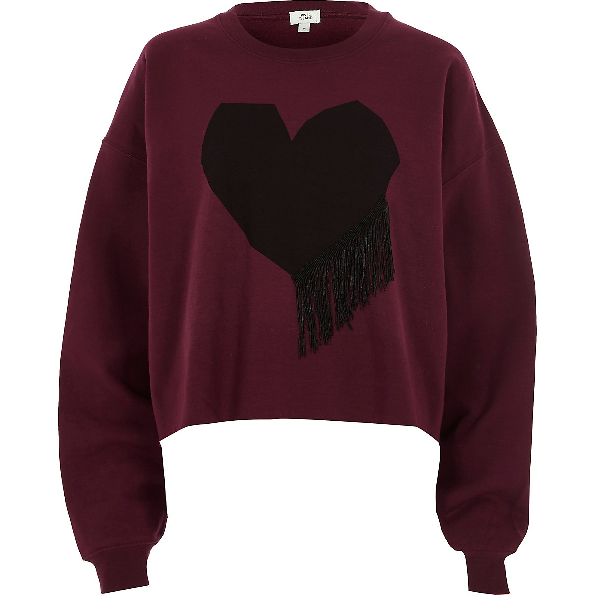 Red heart print fringe sweatshirt