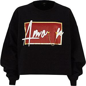 Sweat-shirt noir à imprimé « amour » avec chaîne