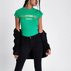 Green 'rue saint' foil print T-shirt