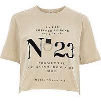 """Beiges, kurzes T-Shirt """"no 23"""""""