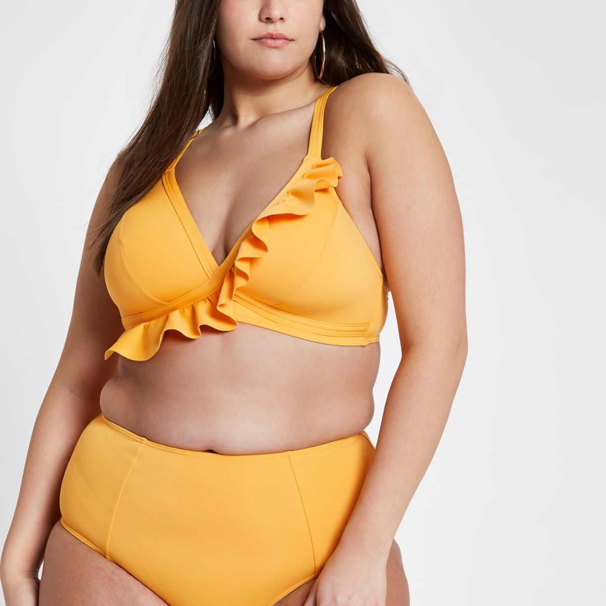 Plus orange frill bikini top