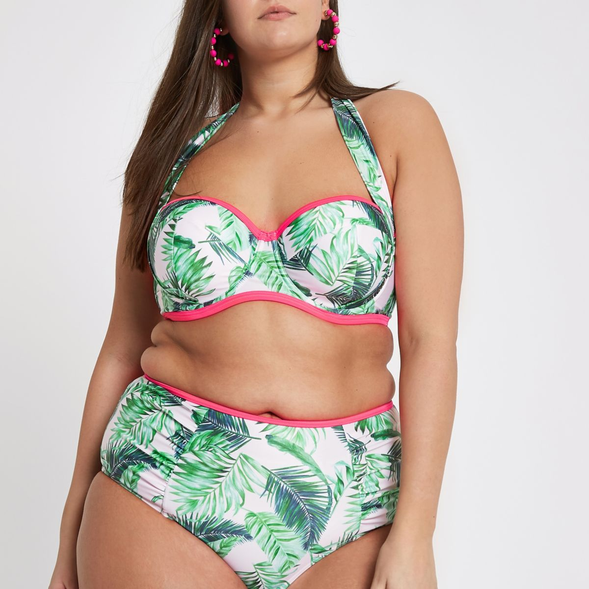 Plus green palm print halter bikini top
