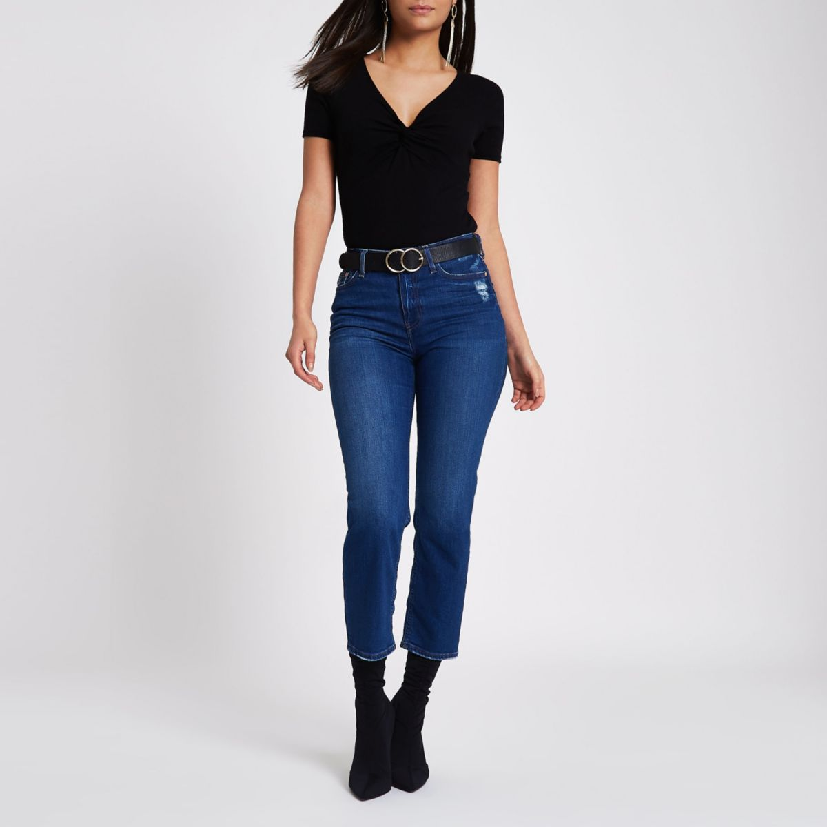 Black knot front fitted bodysuit