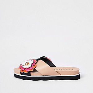Pink flower cross strap mule sandals