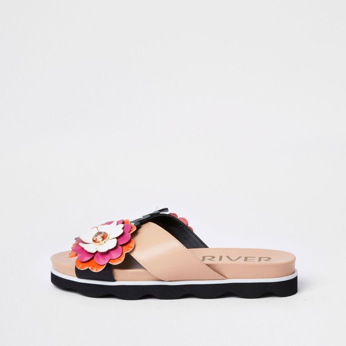 Pink flower cross strap mule sandals