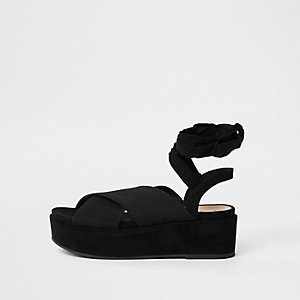 Black ankle tie platform heel sandals