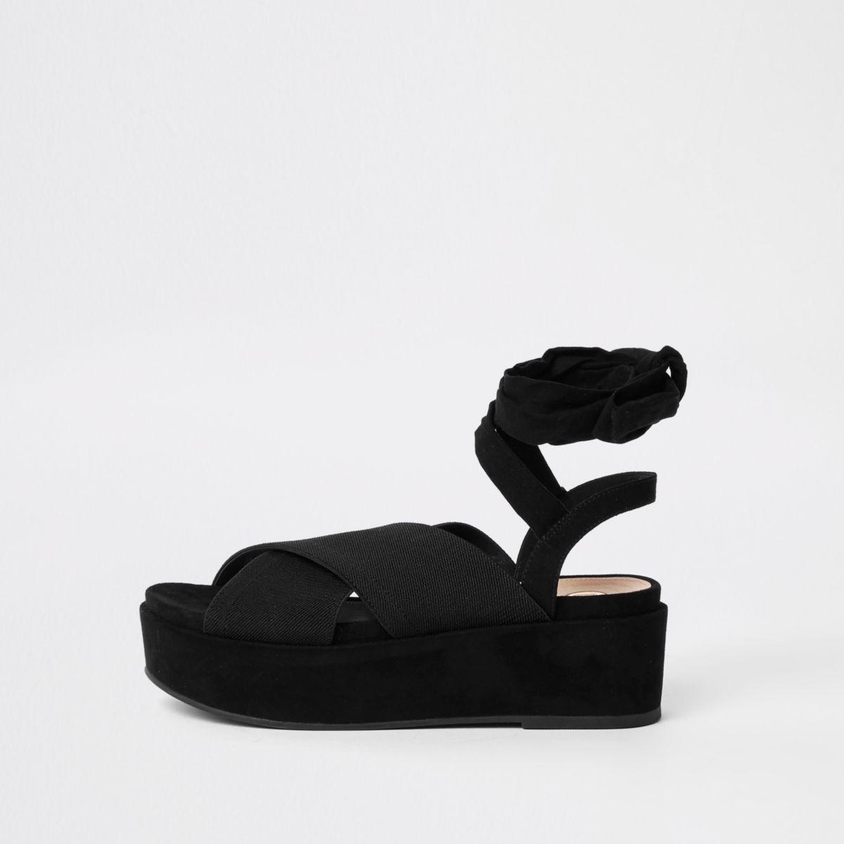 Black ankle tie platform heel sandals