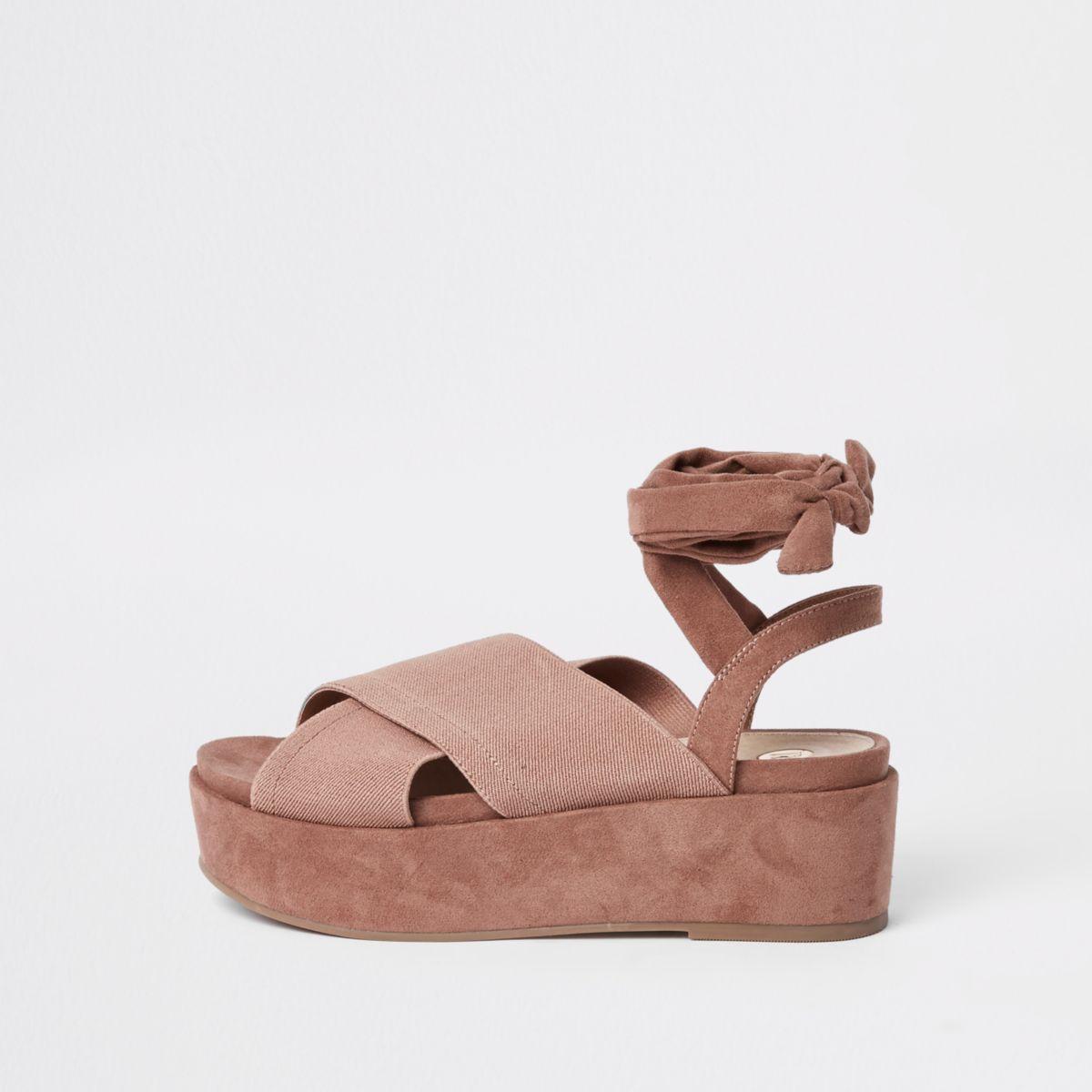 Nude cross strap platform sandals