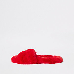 Red faux fur gem embellished mules