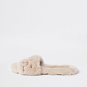 Beige faux fur gem embellished mules