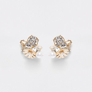 Gold tone diamante pearl cluster earrings