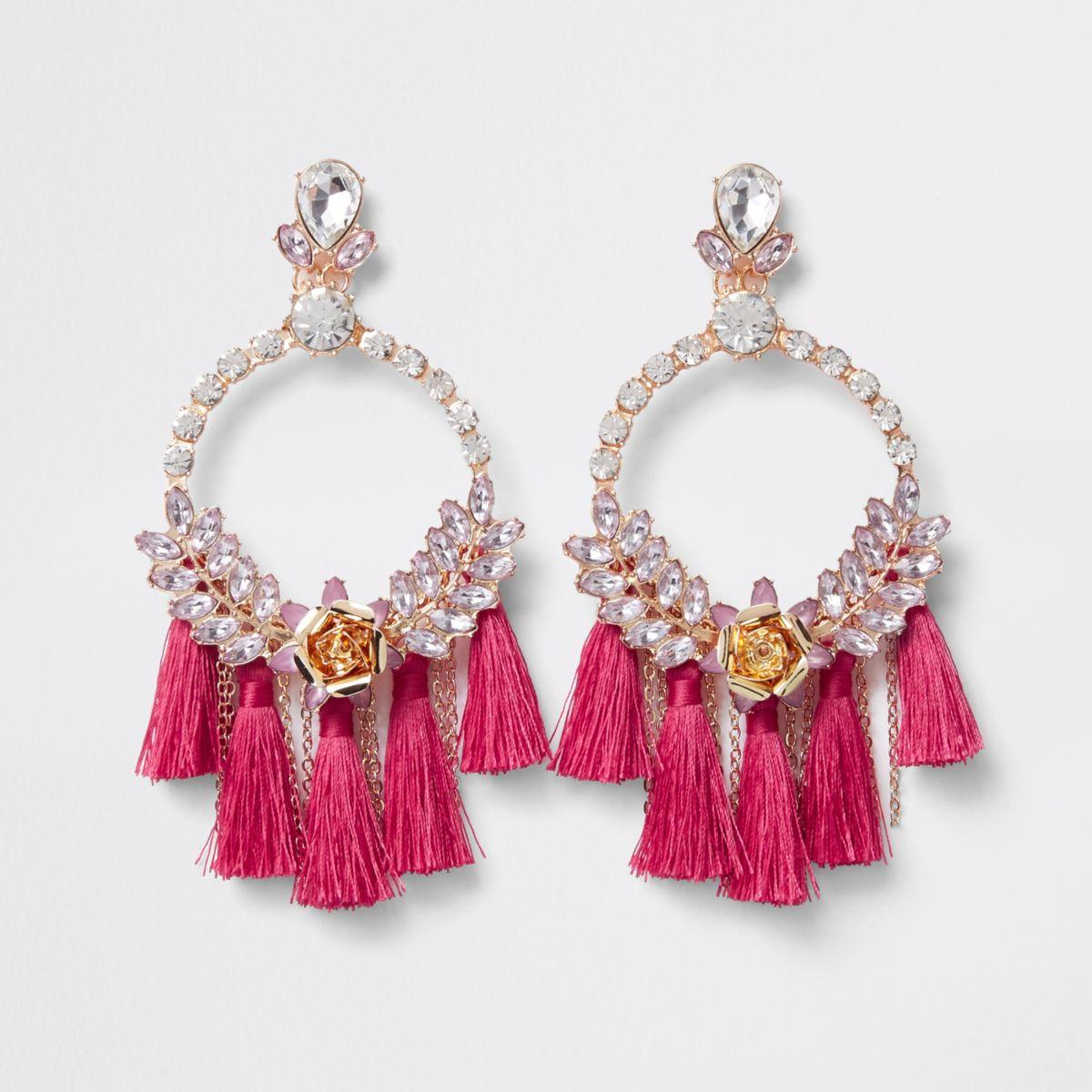 Pink jewel hoop tassel drop earrings