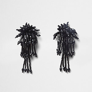 Black cluster bead drop earrings
