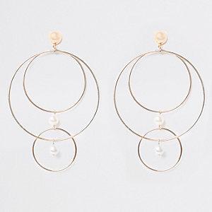 Gold tone multi hoop pearl stud earrings