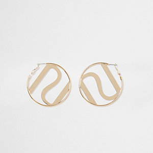 Gold tone RI circle earrings