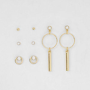 Gold tone drop diamante earrings pack